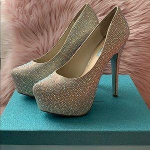 Blue by Betsey Johnson rhinestone heels